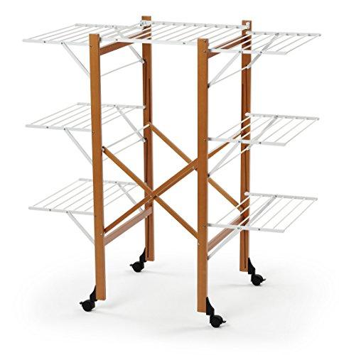 ARREDAMENTI ITALIA Wäscheständer AQUILONE, Holz - Zusammenklappbar - Ausziehbar - 35 mt Leine - Farbe: Kirsche Holz AR-It il Cuore del Legno