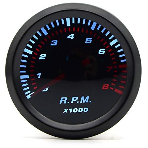 LIXUDECO Indicador de tacómetro 2 '' 52mm Universal de Humo Lente automática del tacómetro LED Blanco 0-8000 RPM calibrador del Metro del Coche