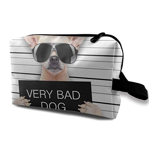 Creative Dogs Funny Chihuahua Glasse Portable Travel Cosmetic Bags Makeup Organizer Bags Grande Capacity Toiletry Organizer Cases Travel Pouch Purse