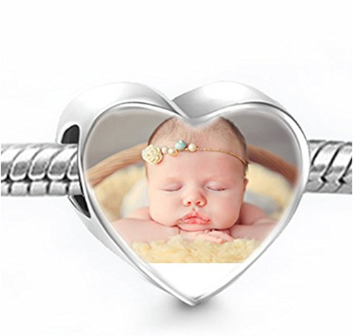 Photo Personalized Sterling S925 Sliver Love Heart Shape Pendant Charm for Necklace Bracelet Women Jewellery Birthday Christmas Wedding Anniversary Gift Customized Memorial Baby Keepsake Gift, A