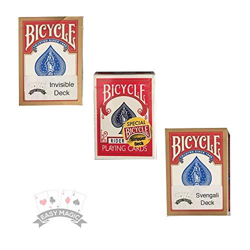 Easy Magic & Diablo Magic Bicycle Card Trick Bundle | 1 x Svengali Deck | 1 x Stripper Deck | 1 x Pro Invisible Deck (rot)