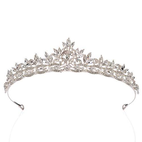 SWEETV Rhineshtone Wedding Tiara for Bride & Flower Girls - Princess Tiara Headband Bridal Crown, Bridal Hair Accessories for Women, Silver+Clear