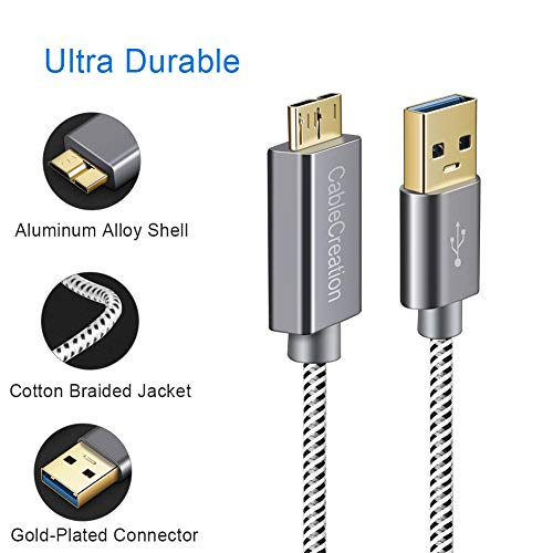 Cablecreation USB 3.0 Micro Kabel, 3.3 FT USB 3.0 A an Micro B Kabel, für Externe Festplatte, HD-Kamera, Ladekabel kompatible mit Samsung Galaxy S5, Note 3 / N9000, 1m, Space grau Aluminium