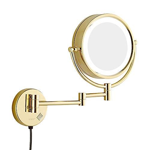 Kosmetikspiegel, Wandspiegel, LED-Schminkspiegel, 10-fach-Vergrößerungs-Badezimmer-Teleskopklappdoppelseitiger Schminkspiegel - Gold