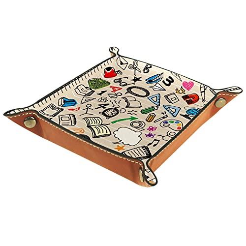 Caja de almacenamiento pequeña, bandeja de valet para hombre,Math Ruler Compass Scissor Libro de papelería ,Organizador de cuero para llaves de caja de monedas