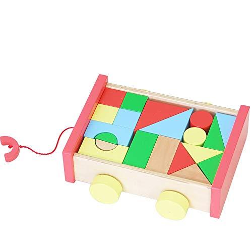 Markc Intelligenza multifunzione Car Building Block Giocattolo Trasportare Giocattoli in legno massello Giocattoli illuminati for bambini Giocattoli educativi Struttura sicura e durevole for dare ai b