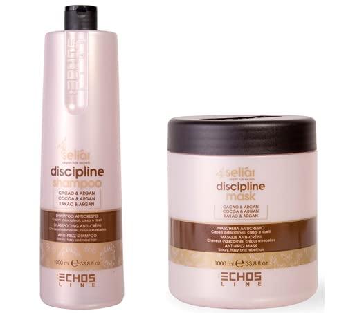 ECHOSLINE SELIAR DISCIPLINE - Shampoo(1000ml) + Maschera(1000ml) anticrespo per capelli indisciplinati crespi e ribelli con burro di cacao e olio di argan
