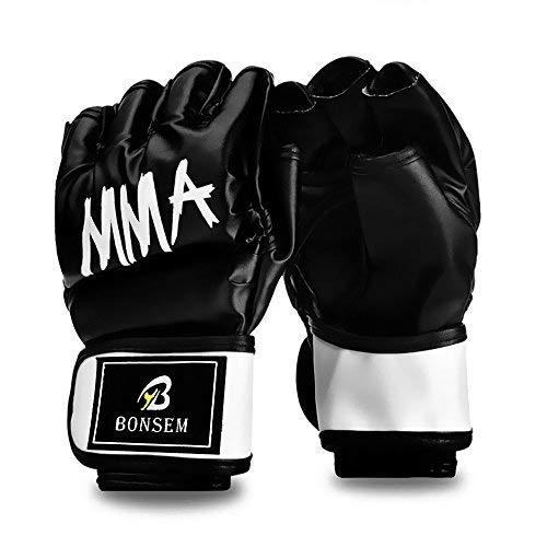 Halbfinger-MMA-Boxhandschuhe mit Klettband Handgelenkband dicke Polsterung zum Stanzen schwerer Tasche Kick-Boxen Klasse Muay Thai - rot Leder Kampfkünste Kampfhandschuhe