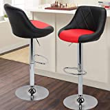 Magshion Model Stool Chair Dining Counter Bar Pub-Set of 2 (Black/Red)