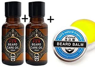 Shreeyas 100% Natural Beard Balm Moustache Cream Conditioner Healthy Beard Styling Moustache Wax 30g Beard Balm beard grow oil 20ml Set : 1wax and 2pcs 20ml