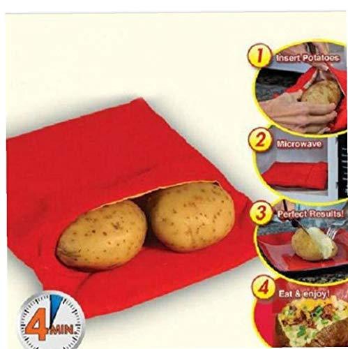 AYRSJCL Red Waschbar Cooker Tasche Baked Potato Mikrowelle Kochen Kartoffelschnell Fast (Köche 4 Kartoffeln auf einmal)