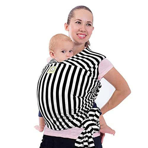 Baby Wrap Carrier - All in 1 Stretchy Baby Sling - Ergo Carrier Sling - Baby Carrier Wraps - Baby Carriers for Newborn, Infant - Baby Holder Straps - Baby Slings - Baby Sling Wrap (Black Stripes)