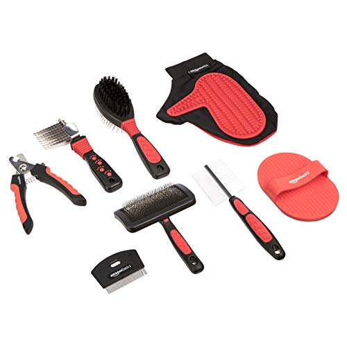 Amazon Basics Pet Grooming Set Brush Shedding Tool Comb Scissors Nail Clippers - 8 in 1, Red