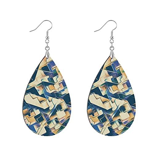 1 par de pendientes de madera con forma de gota de agua con patrón abstracto, pendientes de madera pintados para mujeres, Leaf drop, Madera Cobre plata,