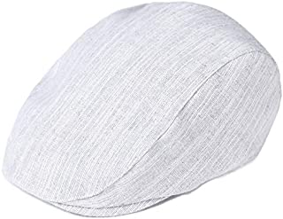 Toddler Kid Boy Newsboy Flat Cap Textured Linen Scally Cabbie Hat