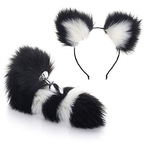 2 cosplay fox cat peludo diadema oreja cola set fiesta juguete lindo disfraz (M)