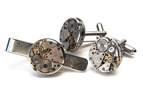 Uhrwerk-Manschettenknöpfe und -Krawattennadel, Vintage-Steampunk-Stil, Geschenkverpackung