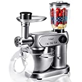 Stand Mixer, <span class='highlight'><span class='highlight'>Elegant</span></span> Life 5-in-1 Kitchen Electric Mixer with Meat Grinder & Blender- 1200W Electric Motor - Dough Hook, Beater, Baloon Whisk - 5.5L Stainless Steel Bowl - 1.5L Glass Jar- Silver Grey