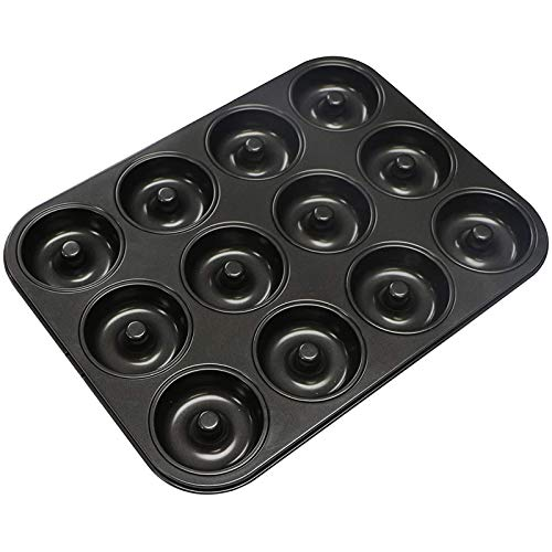 Webake Donut Pan Non-stick Mini Donut Tray Heavy Gauge 2.8 Inch Doughnut Pans for Baking 12-Cavity