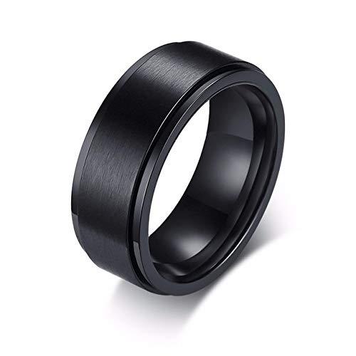 YDMZMS Spinner Ring für Herren, personalisierbar, mit Gravur oben, 8 mm, aus Edelstahl, Weiß und Schwarz
