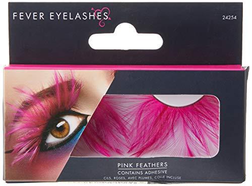 Smiffys Fever Damen Falsche Wimpern mit Federn, Kleber enthalten, One Size, Pink, 24254