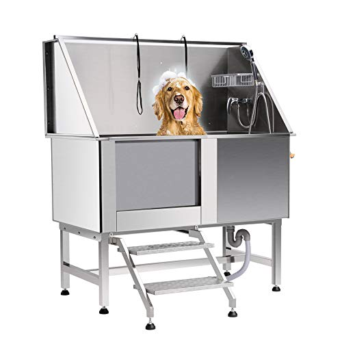 CO-Z 50 Inches Professional Stainless Steel Pet Dog Grooming Bath Tub Station Wash Shower Sink with Faucet Walk-in Ramp and Accessories (50 Inches Pet Grooming Tub Station)