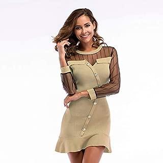 YIBEIANYU Spring And Summer Dress New Slim Stitching Gauze Long-sleeved Knit Group Flouncing