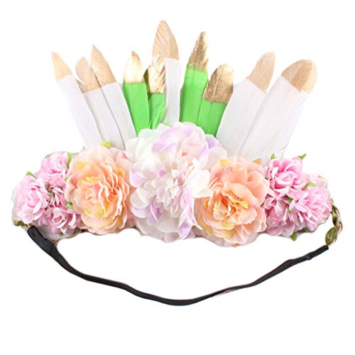 JHD Ethnic Style Women Simulation Floral Headband Bohemian Feather Indian Gypsy Garland Crown Fancy Party Performance Wreath Headpiece