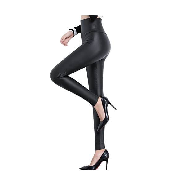 Tulucky Womens Sexy Pants Girls Faux Leather High Waisted Leggings