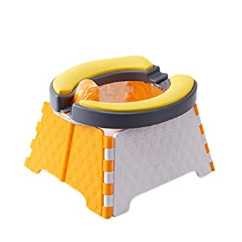Potty Training Seat Upgrade Toddler Portable Toilet for Travel 2 in 1 Kids Soft Resilient Cushion Folding Chair + 30 Disposable Bags  Orange