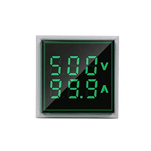Robin Teper Volt+Amp Metar 0604 Digital Plastic Square Voltmeter Ammeter AC 50-500V 0-100A Ampere Voltage Current Meter Tester Dual LED Indicator Pilot Lamp Light 31 mm W/CT (Green)