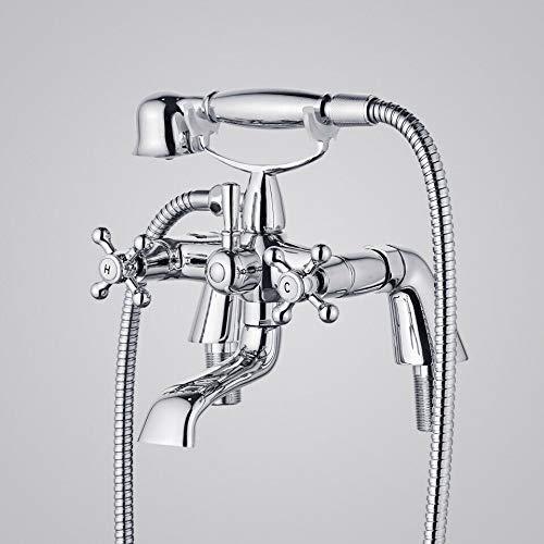 N\C Grifo Mezclador de Ducha de baño de Lujo con Cabezal de Ducha Grifo de llenado Tradicional Victoriano con Plataforma de Ducha montada para bañera, baño, bañera, Cromado