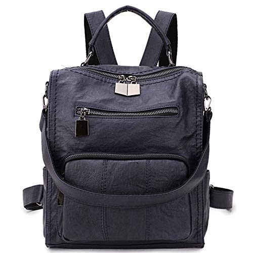 Women Backpack Purse,RAVUO Girls Faux Leather Small Shoulder Bag Mini Backpack for Ladies Three Ways to Carry Darkblue