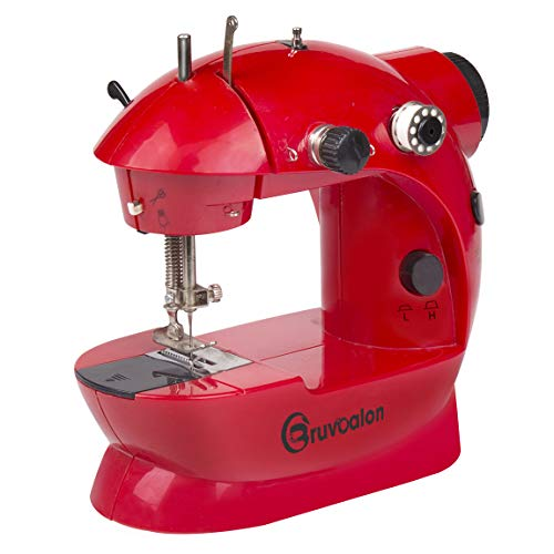 Bruvoalon Mini Sewing Machine with Upgrade Material Adjustable Double Threads and Two Speeds Portable Crafting with Cutter and Foot Pedal for Household, Travel, Kids, Beginners, DIY (Red)