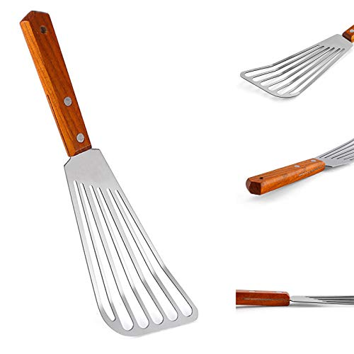 LouisaYork Stainless Steel Spatula,Wood Handle Fish Spatula Nonstick Slotted Spatula Wide Blade Cookware for Frying, Flipping, Turning, Scooping, Grilling