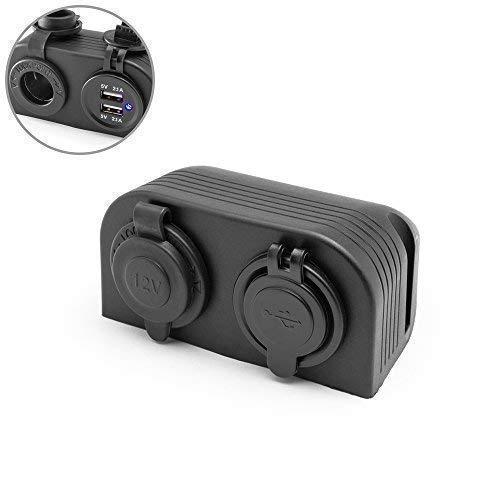 Chargeur Prise Pour Quad Atv Trike 12V Prise+Double USB Alimentation Électrique - Support Tableau de Bord - Pour Toutes Voitures, Vans, 4X4, Camion