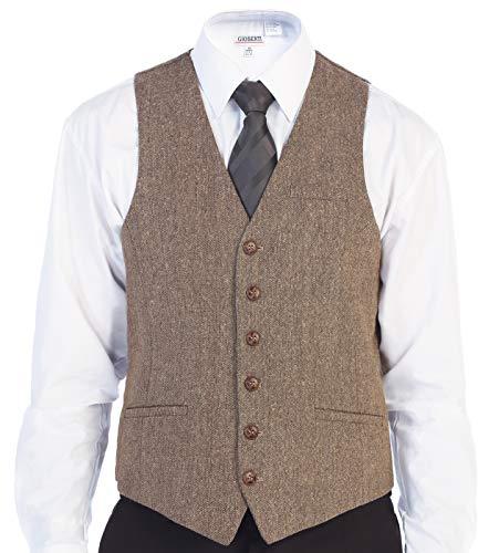 Gioberti Men's 6 Button Slim Fit Formal Herringbone Tweed Vest, Barleycorn Tan, 3X Large