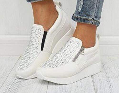 ZYLL Frauen Turnschuhe Hot Bohren Breath Höhe zunehmende Keil-Plattform-Vulcanize Schuhe PU-Leder-Frauen-beiläufigen Turnschuhes,Weiß,35