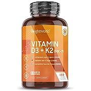 Extra fort 4000UI Vitamine D3 & K2 (MK-7) - 180 Gélules (6 mois d'approvisionnement) - Augmente le calcium pour la santé des os, le soutien immunitaire et la peau - Keto + Vegan pour homme/femme