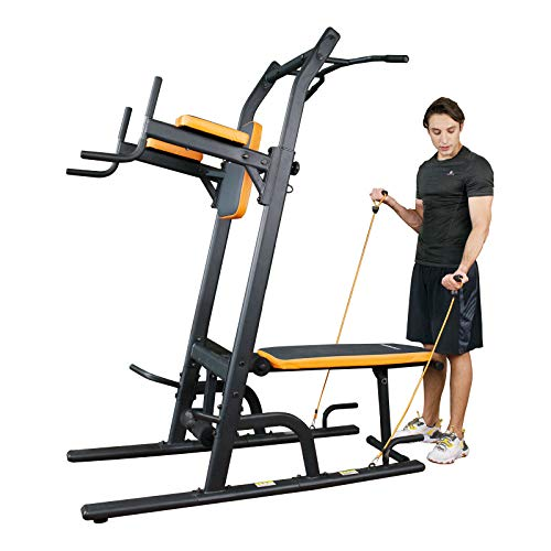 Power Tower Dip Station Multi-Function Pull Up Bar with Bench Adjustable Height Strength Training Exercise Equipment for Home Gym