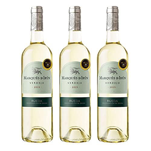 Vino Blanco Verdejo Marques de Irun de 75 cl - D.O. Rueda - Bodegas Grupo Caballero (Pack de 3 botellas)