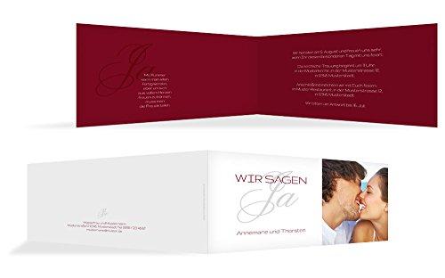 Hochzeitskarten: Einladung Sagja, hochwertige Einladung zur Heirat inklusive Umschläge | 15 Karten (format: 215.00x105.00mm) color: Rot