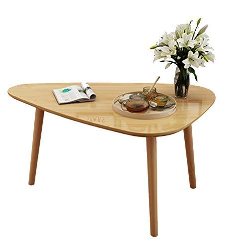 hairong Mesa auxiliar de madera maciza, mesa redonda pequeña, mesa de dormitorio moderna, mesa de café lateral triangular (color: blanco)