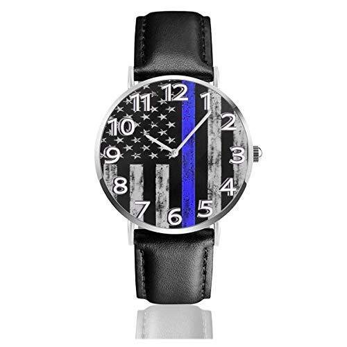Reloj de Pulsera Bandera de Estados Unidos Correa de Cuero sintético Duradero Relojes de Negocios de Cuarzo Reloj de Pulsera Informal Unisex