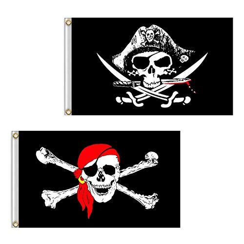 Isuraul Piratenflagge, 2 Stück, 60 x 90 cm, Totenkopf- und Kreuzmesser, gekreuzte Knochen, Jolly Roger (roter Schal) Flagge für Outdoor und Piraten-Partys, Kreuzmesser-Flagge und Jolly Roger Flagge