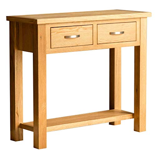 RoselandFurniture London Oak Console Table with Storage | Contemporary 2 Drawer Solid Wooden Hall Stand for Living Room, Bedroom, Hallway or Kitchen