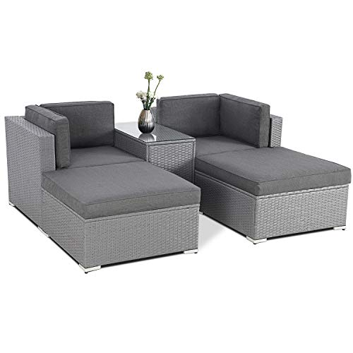 SUNCROWN 5 Piece Patio Outdoor Furniture Sets, All-Weather Grey Wicker Sectional Sofa with Glass Table (Dark Grey Cushion)