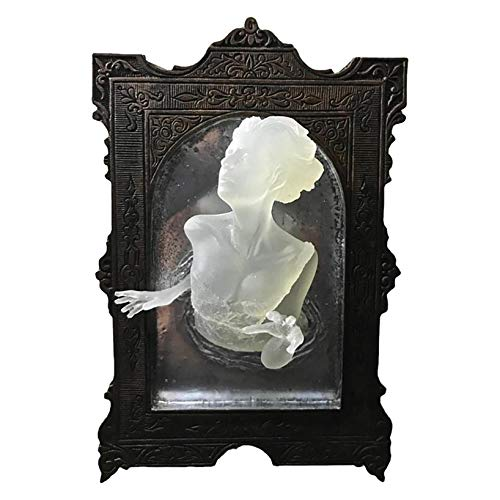 Ghost In The Mirror Wall Decor, Luminous, Creepy Haunted Home Decor Sculpture Horror Decor Gothic Wall Art For Living Room (A)