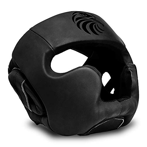 Valour Strike Leather Boxing Head Guard caschetto Casco   Copricapo Arti Marziali MMA Kick Face UFC Lotta Training Sparring Protector Gear Zero Impatto  Tutti Blackstm, Nero, S