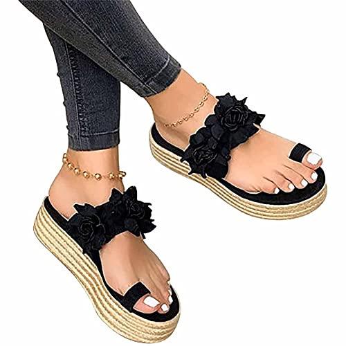 Sandalias de plataforma para mujer, sandalias de dedo del pie, sandalias de espalda, sandalias de plataforma y plataforma para mujer, sandalias ortopédicas, color negro, 38